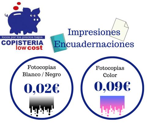 oferta PRECIOS SIN COMPETENCIA Y ENCUADERNACIONES GRATUITAS – COPISTERÍA LOW COST
